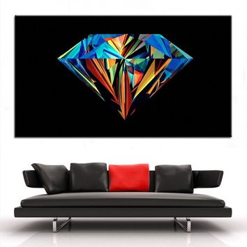 Large size Printing Oil Painting colorful diamond Wall painting Decor Wall Art Picture For Living Room painting No Frame