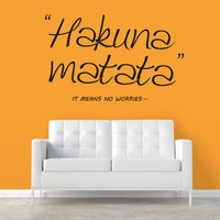 Wall Decal Vinyl Sticker Decals Art Decor Design Sign Quote Hakuna Matata Film Letters Words Kids Lion King Bedroom Dorm Modern Style (r377)