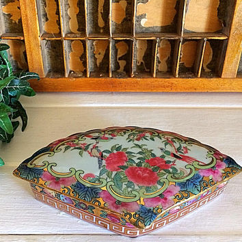 China Medallion, Rose Mandarin, Porcelain Fan, Vintage Jewelry Box, Rose Medallion, Trinket Fan Box, Porcelain Rose, Fan Decor, Jewelry Box