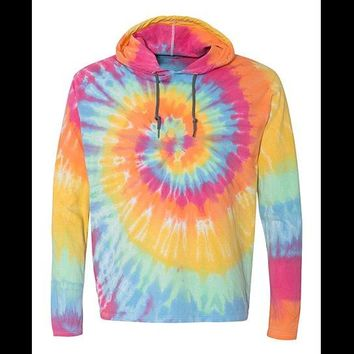 Tie Dye Cotton Hoodie Shirt. Plus Size XL, 2XL, 3XL. Pastels