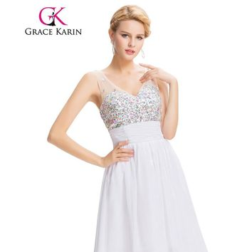 Grace Karin White Blue Sexy Backless Short Cocktail Dresses Beading Sequin School Party Gown robe de cocktail Sexy CL7507