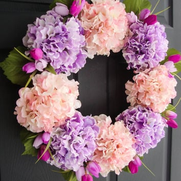 Lavender Purple & Pink Hydrangea WREATH with Tulips - Spring Wreath - Front Door Decorations - Door Wreath - Wreaths - Housewarming Gift