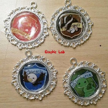 Cameo necklace chibi Gryffindor, Slytherin, Hufflepuff, Ravenclaw Harry Potter