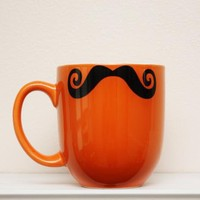 Mustache Mug - Curly Handlebar Moustache - Orange - Coffee, Tea, Latte