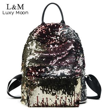 Glitter Backpack Women Sequin Backpacks Teenage Girls Bling Rucksack Fashion Brand Gold Black School Bag Sequins mochila XA1059H