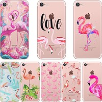 Phone Cases Summer Flamingos Love Soft Silicone Clear Case Cover for Apple IPhone 7 6 6S 8 Plus X 5S SE