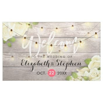 Rustic Wood Floral String Lights Wedding Banner
