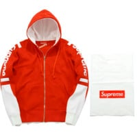 Supreme tide brand autumn and winter men and women couple new combed color sweater coat loose head plus velvet Red
