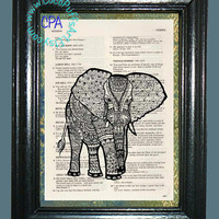Ornate African Elephant -- Vintage Dictionary Book Page Art-Upcycled Page Art,Wall Art,Mixed Media Art