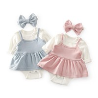 Cutelee 3pcs newborn baby sets bodysuits + baby dress +headband outfits baby girl clothing fashion baby romper clothes
