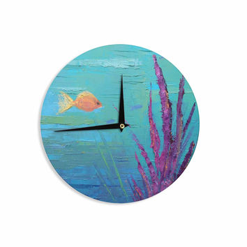 "Carol Schiff ""Key Largo Coral Reef"" Teal Purple Painting Wall Clock"