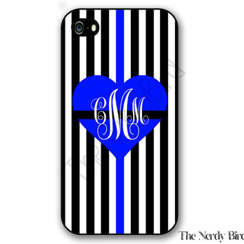 Monogram Thin blue line Heart and Stripes iPhone 4, 5, 5c, 6 and 6 plus and Samsung Galaxy s3, s4 and s5 phone case