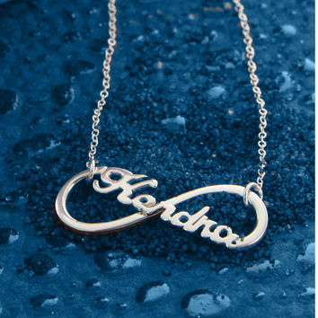 Infinity Name Necklace, Script Style, Silver Love Necklace, Gold Name Necklace, Best Friend Necklace, Gift for Sister, Birthday gifts ideas