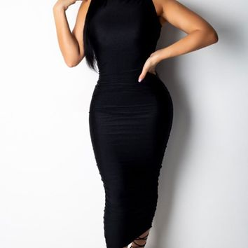 Wicked Laugh Sleeveless Mock Neck Ruched Bodycon Midi Dress - 3 Colors Available