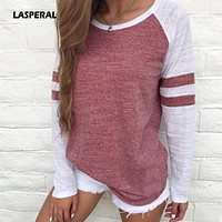 LASPERAL Autumn Women Striped Splicing Baseball T-Shirt 2017 Fashion O Neck Long Sleeve Top Tee All Matched Sleeve T Shirt S-5XL