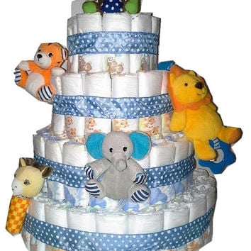 Blue Polka Dot Themed Baby Boy Shower Creative 4 Tier Jungle Zoo Nappy Diaper Cake Table Centerpiece or All In One Coorporate Baby Gift