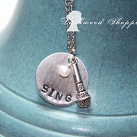 Sing Microphone Silver Necklace- can be customized