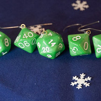 Green and White Dice Ornaments - Geeky Christmas Decorations