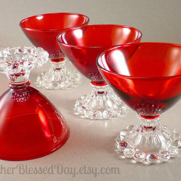 Vintage Ruby Red Anchor Hocking Boopie Sherbet/Champagne Glasses