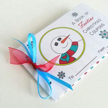 Christmas Coupon Book Snowman Holiday Kids Coupon Book Christmas Stocking Stuffer Holiday Coupon Tickets Personalized Coupon Merry Christmas