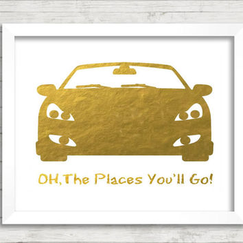 Oh,The Places You'll Go,Digital Gold Foil Print,Printable Art,Nursery Wall Decor,Wall Decor,Dr.Seuss Quote Printable