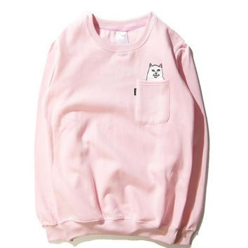 RIPNDIP The middle finger cats Round collar Pullover Hedging Sweater long sleeve sports shirt-2