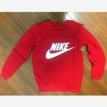 """NIKE"" Women Fashion Hooded Top Pullover Sweater Sweatshirt  Round Collar Red"
