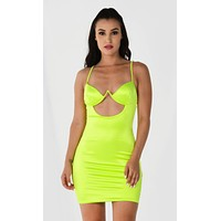 Blast Off Fluorescent Neon Lime Green Satin Stretchy Sleeveless Spaghetti Strap V Neck Cut Out Bodycon Mini Dress