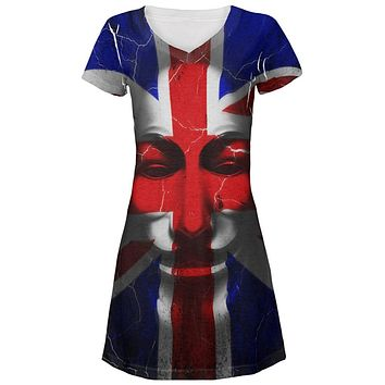 Guy Fawkes Day Union Jack Distressed British Flag Mask Juniors Beach Cover-Up Dress