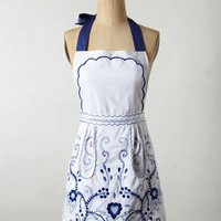 Scrolled Vines Apron by Anthropologie Blue One Size Aprons