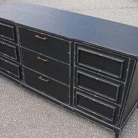 SALE Vintage Reclaimed Mid Century Modern Black Paint Distressed 9 Dr Dresser Media Console Credenza Chest (Call for ship quote)