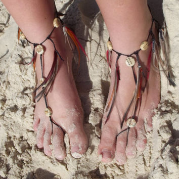 Barefoot Sandals, feather fringe sandal, beach wedding, anklet, hippie shoes, toe thong