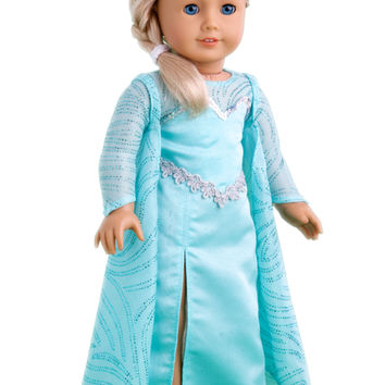 Snow Queen Elsa - Clothes for 18 inch Doll - Long Turquoise Dress with Sparkling Cape and Silver Shoes