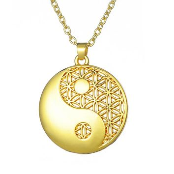 Stainless Steal Minimal Sliver/Gold Color Talisman Pendant Necklace Life of Flower, Ying/Yang