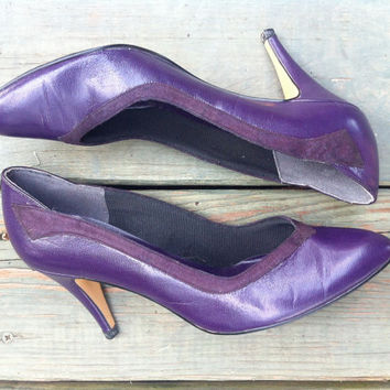 Vintage Purple Leather Pumps // Winged Suede by HawkShopVintage