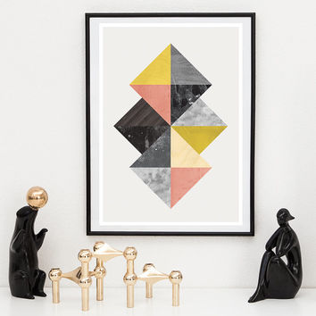 Abstract wall art, nordic design, geomteric art print, abstract print, scandinavian poser, abstract geometric print, mid century modern,