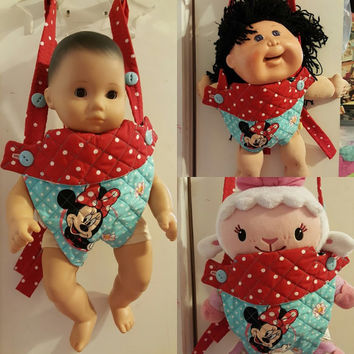 baby doll carrier doll sling 14 - 15 - 16 inch dolls or stuffed animals adjustable will fit Bitty Baby® Cabbage Patch®  mouse and flowers P4