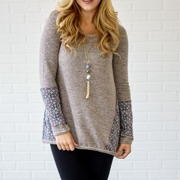 Grey-Multi-Color-Printed-Accent-Knit-Pullover