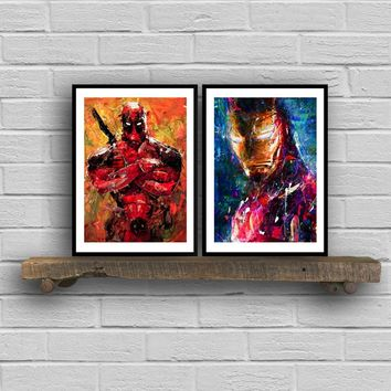 Avengers Superhero IRONMAN Deadpool Canvas Print and Poster , Marvel Super Heroes Oil Painting Wall Picture Canvas Painting