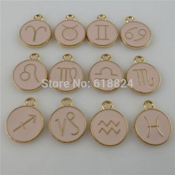 Gold and Pink Zodiac Pendant