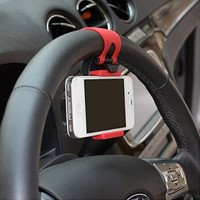 EKoo Universal Cell Phone Car Mount Holder on Steering Wheel,mobile phone Holder / Mount / Clip / Buckle Socket Hands Free on Car Steering Wheel (Black & Red) (1 Pack)