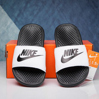 Love-Q168 NIKE Coconut lazy men and women slippers soft bottom massage beach shoes