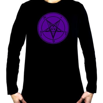 Solid Purple Inverted Pentagram Sabbatic Goat Men's Long Sleeve T-Shirt Black Metal