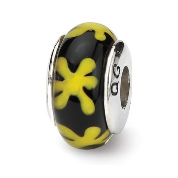 Sterling Silver Reflections Yellow/Black Hand-blown Glass Bead