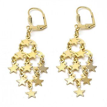 Gold Layered 02.63.2194 Chandelier Earring, Star Design, Polished Finish, Gold Tone