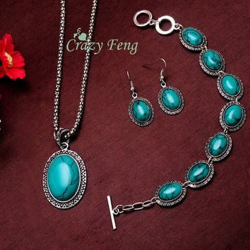 Women's Vintage Retro Silver Plated Oval Sunflower Turquoise Stone Necklace Bracelet Earrings Jewelry Sets Gifts Free shipping