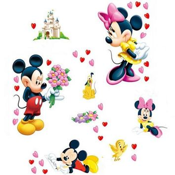 Loves heart wall stickers Mickey Minnie Mouse happy castle 3d vinyl decals kids room nursery decoration cartoon posters 50*70cm