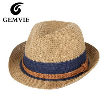 Summer Hat Hemp Rope Patchwork Striped Straw Sunhat For Women