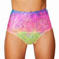 Rainbow Laser High-Waisted Scrunch Booty Shorts