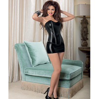 Studded Stretch Pvc & Sequin Corset W-soft Boning & Side Zip Black 36